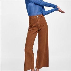 Zara marine straight brown pants size 8